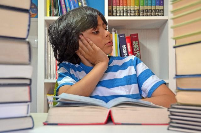 本に囲まれたスペイン人の少年